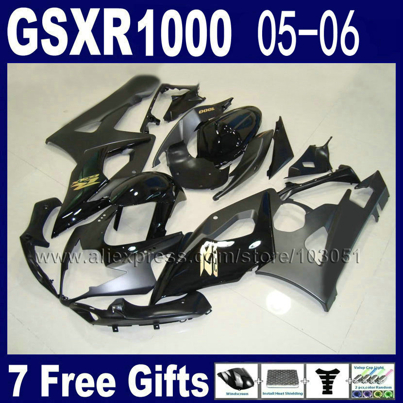 Custom Road fairing kits for suzuki Glossy flat black 2006 GSXR 1000 K5 2005 GSX R1000 06  05 motorcycle fairings kit custom road fairing kits for suzuki glossy flat black 2006 gsxr 1000 k5 2005 gsx r1000 06 05 motorcycle fairings kit