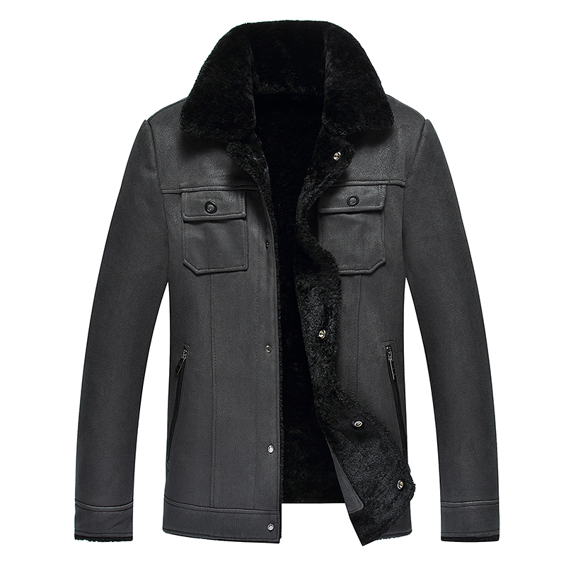 2019 High Quality Leather Jacket Men Faux Leather Coat Mens Leather Jacket Motorcycle Jacket Men Winter Leather Coat Fur Liner - 5