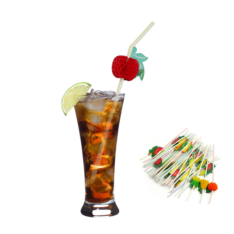 FHEAL 50pcslot 3D Fruit Flexible Plastic Cocktail Drinking Straws Summer Ice Drink Straw Hawaiia Party Decor Supplies Bar Tool (5)