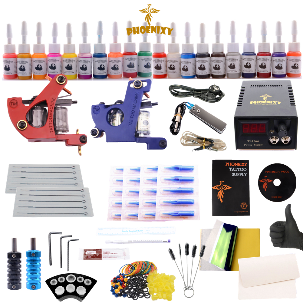 Complete Tattoo Kit 20 Colors Tattoo Inks 2 Guns Pigment Induction Tattoo Machine for Beginner Body p80 panasonic super high cost complete air cutter torches torch head body straigh machine arc starting 12foot