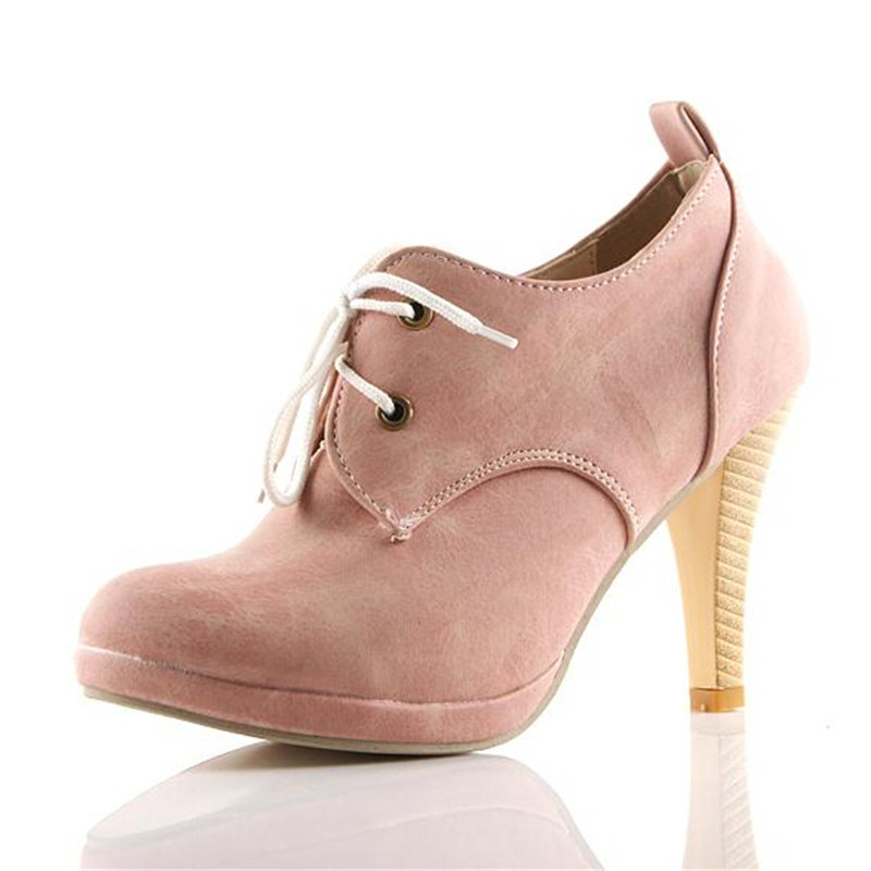 2016 Shoes woman sexy high heels round toe women lace up pumps plus size 42 ladies shoes with fashion short boots ST004