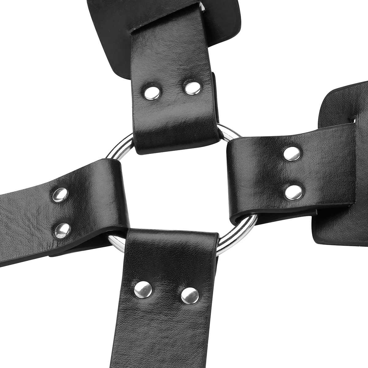 ... Mens Zentai Bondage Adjustable PU Leather X Back Body Chest Harness Belt  with Buckles Metal O ...