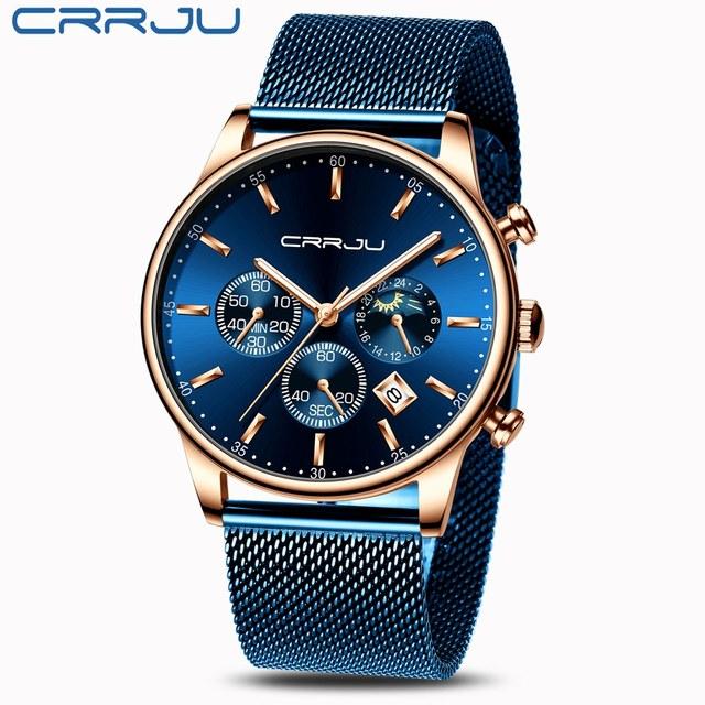 Relogio Masculino CRRJU luksusowy zegarek kwarcowy dla mężczyzn niebieska tarcza zegarki sportowe zegarki chronograf zegar pasek z siatki Wrist Watch
