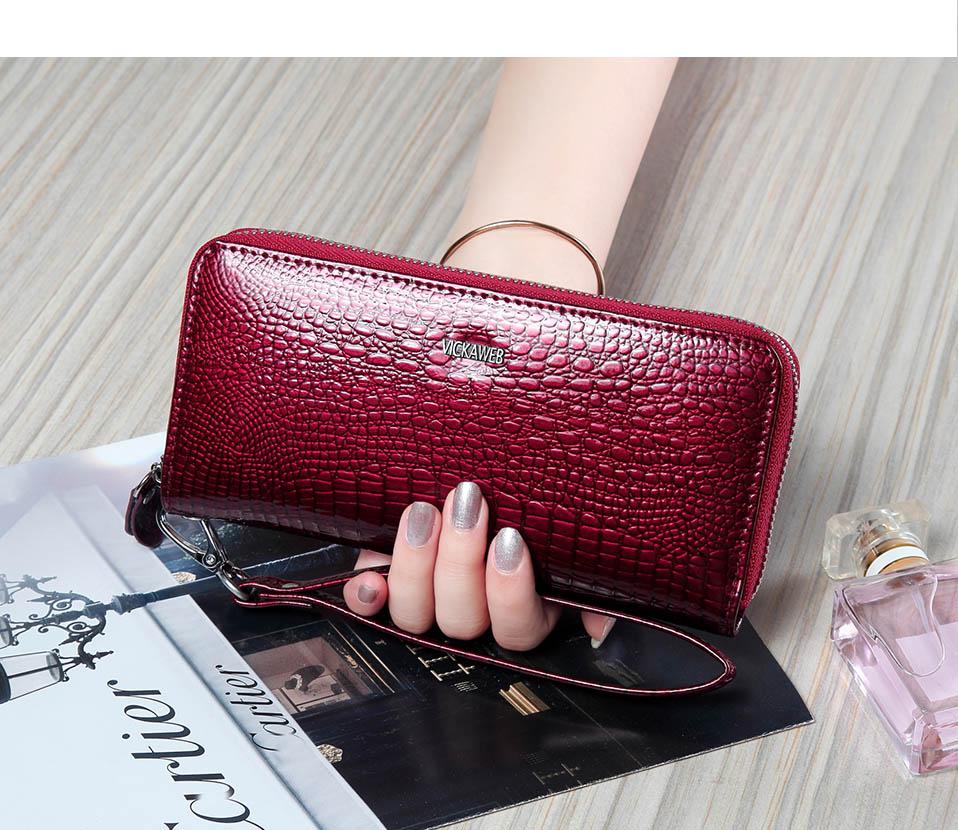 VICKAWEB Wristlet Wallet Purse Genuine Leather Wallet Female Long Zipper Women Wallets Card Holder Clutch Ladies Wallets AE38-007