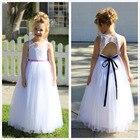 Lace Tulle White A-Line Flower Girl Dresses Communion Dress Toddler Girl Dress First Communion Dresses Vestidos De Comunion