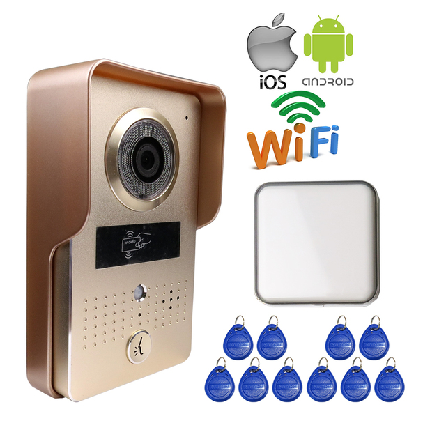Free Shipping Wireless Wifi Doorbell Camera for Android IOS Phone Remote View Unlock RFID Access Video Intercom + Wireless Bell