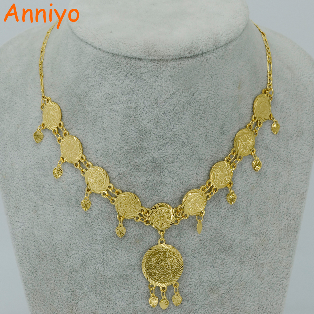 anniyo 45cm metal coin necklace for women arab coin gold