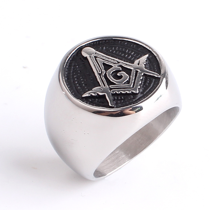 free shipping Domineering masonic font b ring b font casting Punk Gothic free Mason 316l Stainless