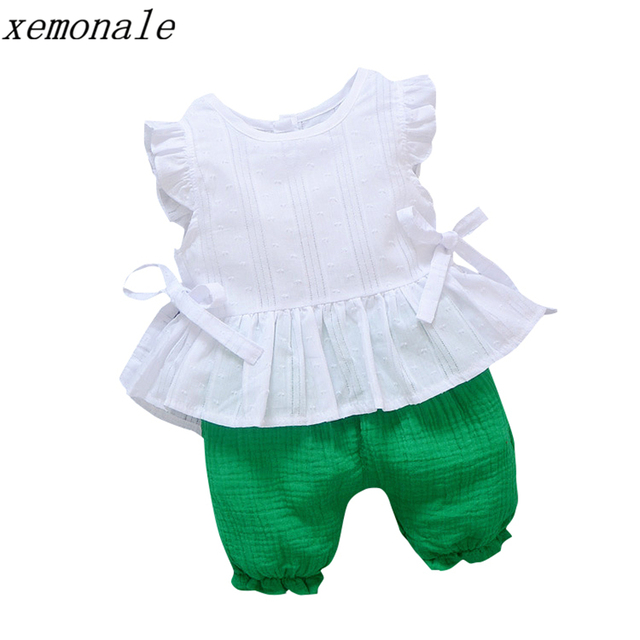2019 New Summer Baby Girls Clothing Children Lace T-Shirt Shorts 2pcs/Sets Infant Suit Comfortable Cotton Kids Casual Tracksuits 1