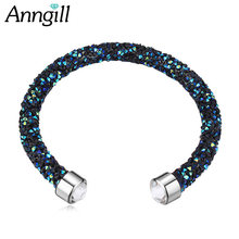 Hot Crystals From Swarovski Bracelets Friendship Cuff Bracelets For Women Wedding Party Jewelry Gift(China)