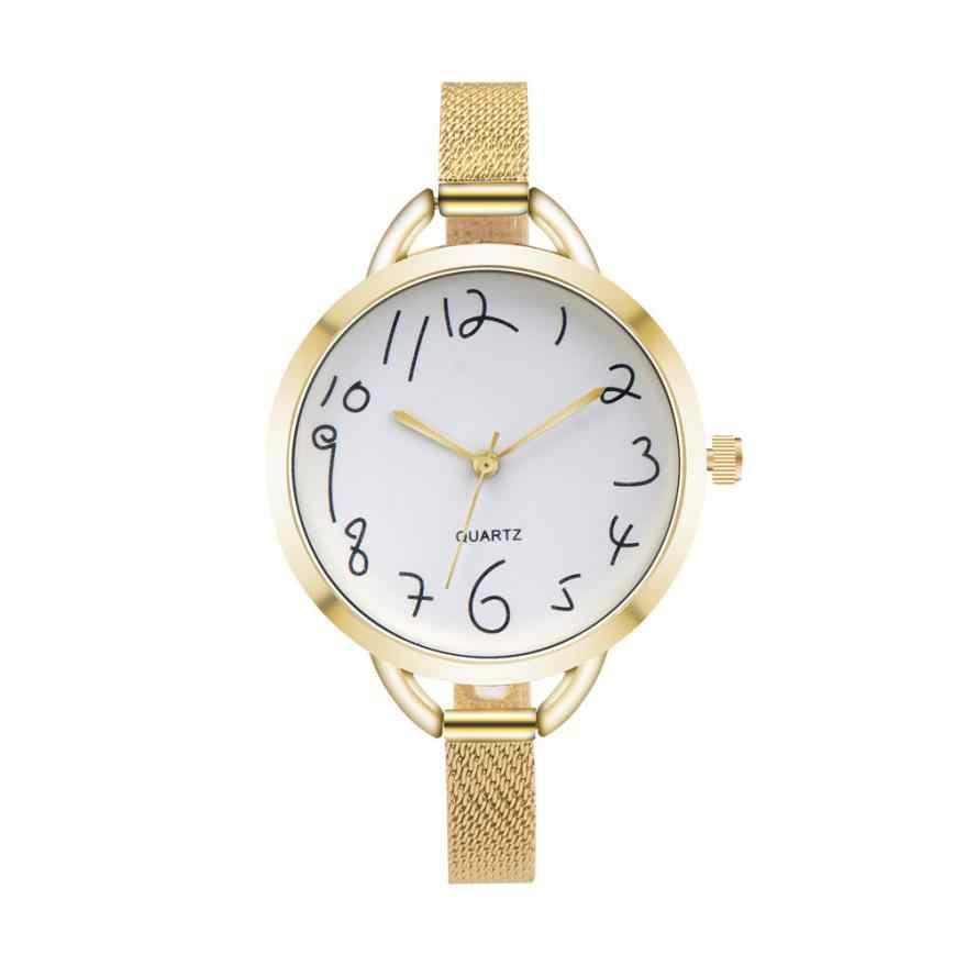 גביש מזדמן נשים אופנה מצביע נירוסטה אנלוגית קוורץ שעון יד צמיד נשים שעוני מותג עליון יוקרה