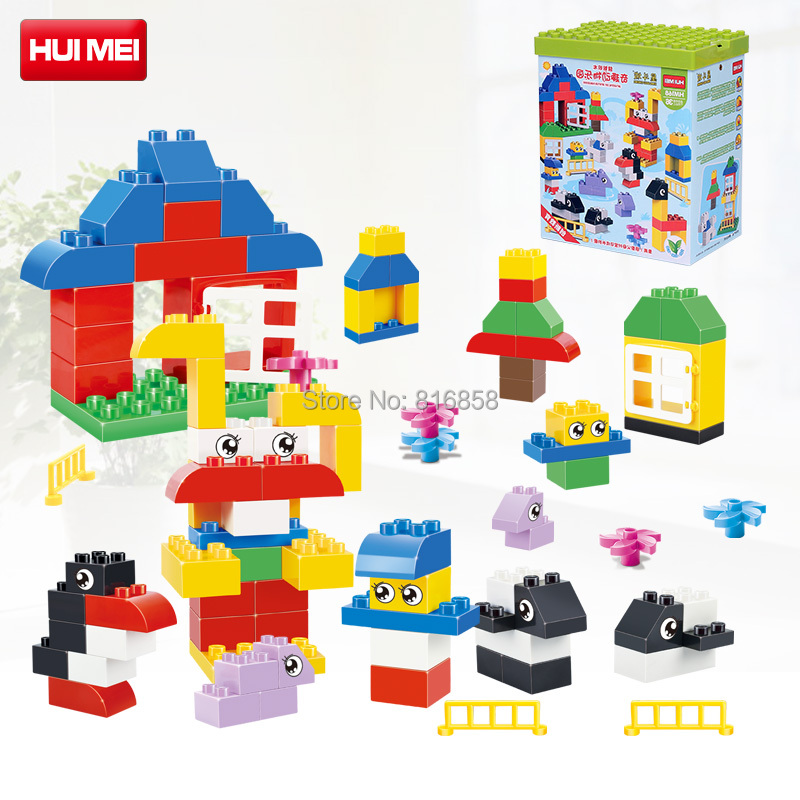 Original HUIMEI 66PCS Diy Animal Paradise Basic Blocks Set Educational Baby Toys Zoo Compatible with Duplo Large Bricks Gift