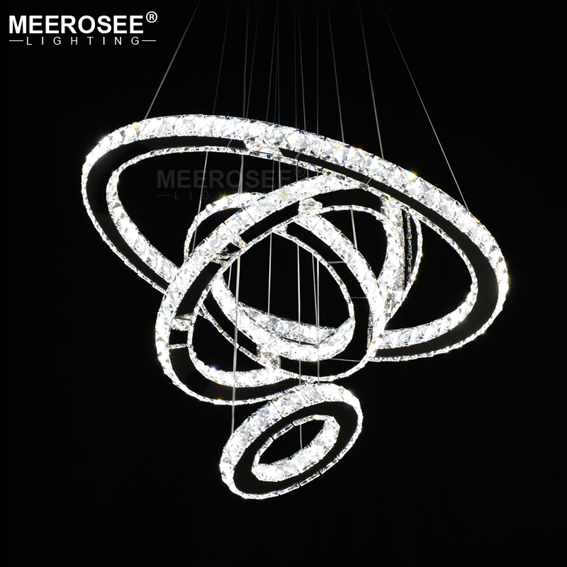 Mirror Stainless Steel Crystal Pendant Diamond Lighting Fixtures 4 Rings led Pendant Lights Cristal Dinning Hanging