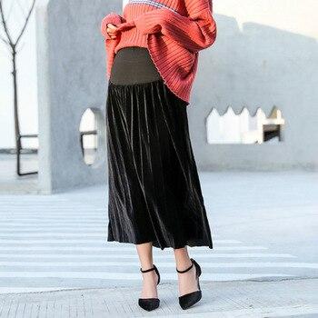 dff2953c1 Moda faldas de maternidad Otoño Invierno moda plisada faldas sueltas para  mujeres embarazadas faldas coreanas de