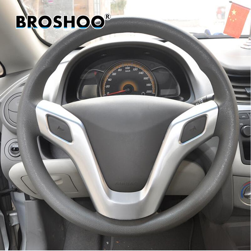 BROSHOO For Chevrolet New Sail Chrome Steering Wheel Cover Sticker Decal 2010 2011 2012 2013 2014 Sail 3 Accessories Car Styling