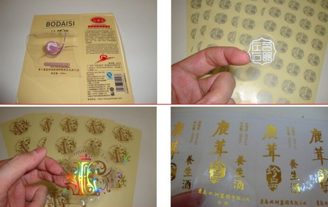 Transparent sticker clear sticker with gold foil writingfactory price