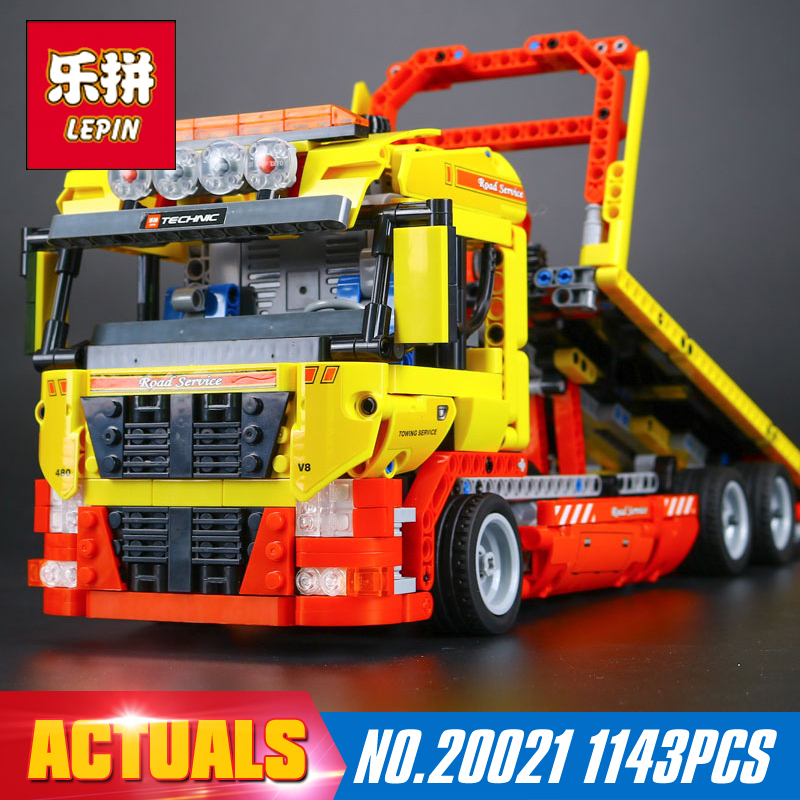 New LEPIN 20021 technic series 1143pcs Flatbed trailer Model Building blocks Bricks Compatible Toy Gift 8190 Educational Car