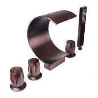 Bathtub Mixer 5pcs Widespread Tub Filler Faucet Bath Shower Mixers Tap Oil Rubbed Bronze