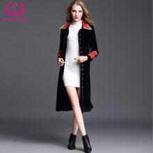 0986c3b379c5 2018 Winter Runway Designer Vintage Elegant Dignity Women Long Coat Collar  Wrap Black Velvet Maxi Coat