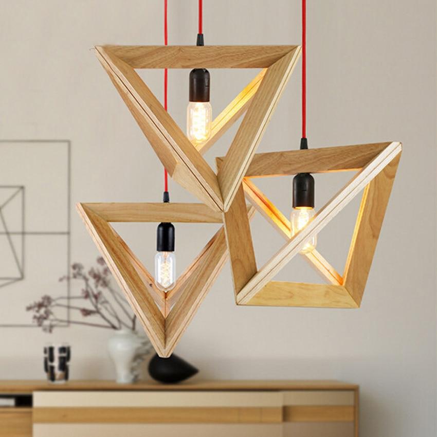 Nordic Wooden Led Pendant Light Creative Triangle Oak