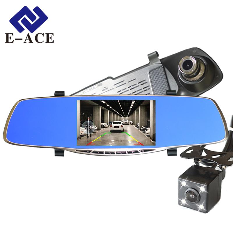 Prix pour Nouveau Full HD 1080 P Voiture Dvr Caméra Avtoregistrator 5 Pouce Rétroviseur Numérique Vidéo Enregistreur Double Lentille Registraire Caméscope