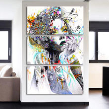 HD Home Decor Wall Art Canvas Framework Pictures Painting 3 Piece Color Woman Flower Hair For Living Room Modern Printed Poster(China)