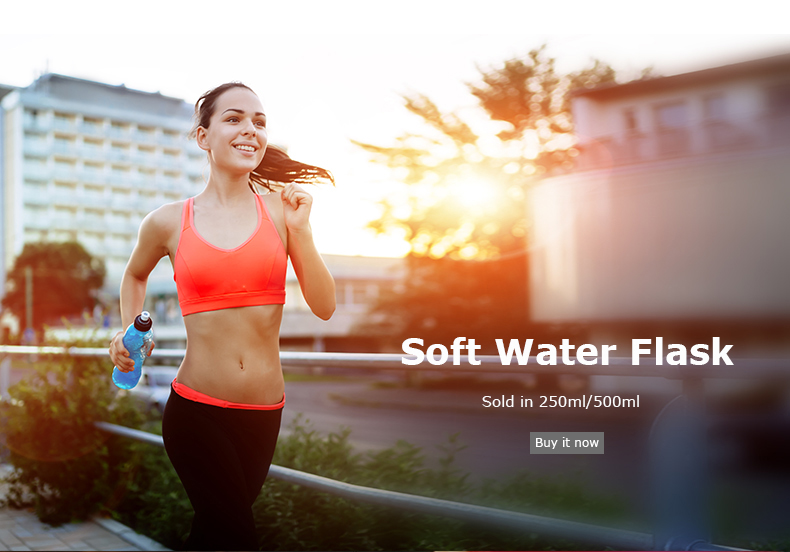 Foto water's flask folding TPU for sport. Collapsible flask of water 500ml for hiking