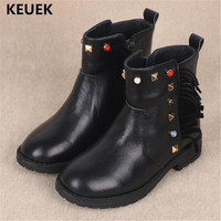 New Children boots Girls Genuine Leather Ankle Boots Baby Princess Fringe Black Shoes Kids Snow Boots Plush Warm 041