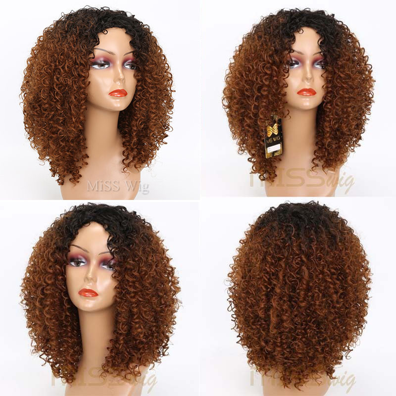 Afro Wig Synthetic-Wigs Blonde Curly Brown Kinky Black Long Women Red for Mixed 250g