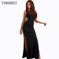 Plus size zwart sequin mermaid maxi dress floor lengte robe De Soiree Avond Backless Hol Hoge Split Jurken 80176