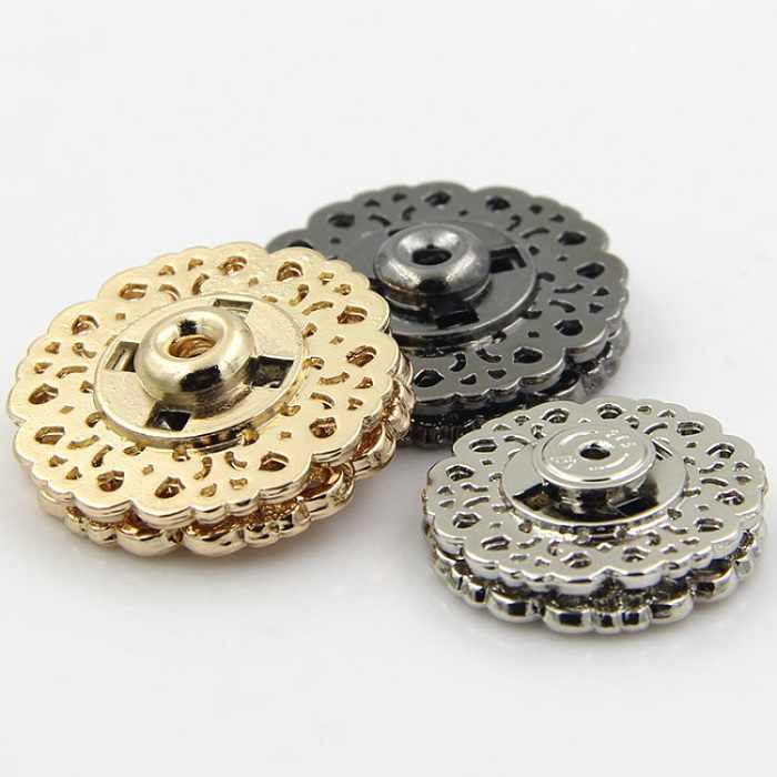 Snap Buttons 15/18/21/25/30mm Fasteners Press Stud Invisible metal flower for handmade Gift Box  Craft DIY Sewing Accessories Wh