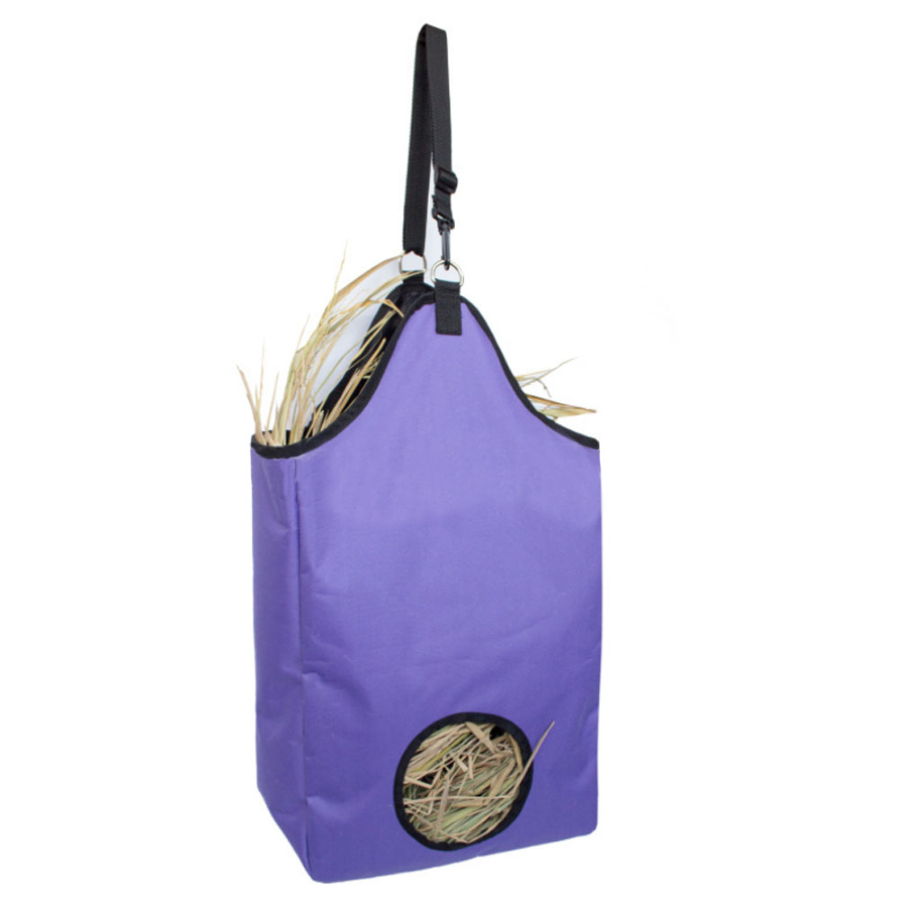 Folding Slow Feed Horse Oxford Hay Bag Tote with Hanging D Ring and Adjustable Strap