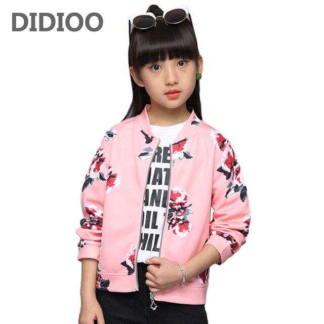 c8dda3939f6a Children Jackets for Girls Print Flowers Coats Kids Autumn Outerwear ...