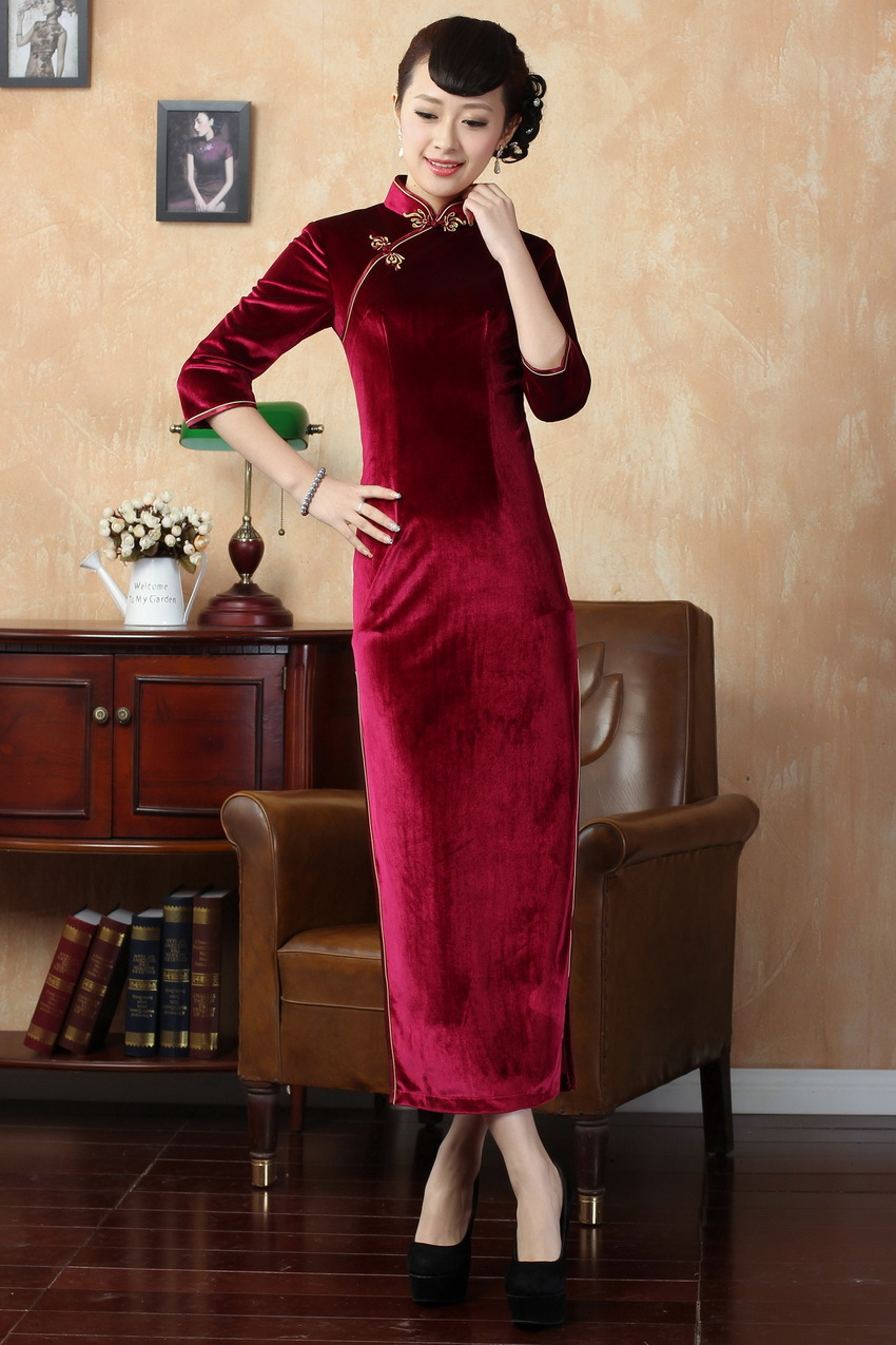 Chinese long sleeve cheongsam Stretch velvet dress gown qipao 140301 size  30 40-in Cheongsams from Novelty   Special Use on Aliexpress.com  96116d3034d7
