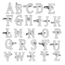 Capital letters Cufflinks men Silver color CuffLink for woman A B C D E F G H I J K L M N O P Q R  French Shirts Cuff Buttons