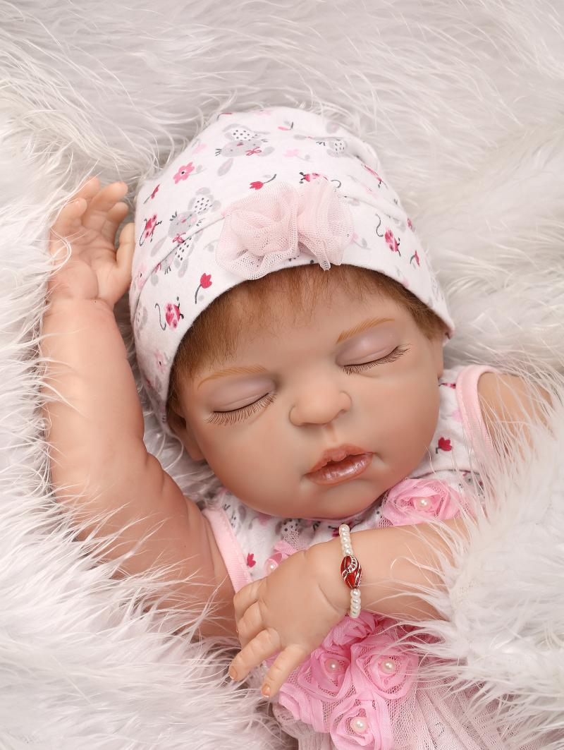 22 Full  Body silicone reborn dolls With closed Eyes Fashion girl Realistic Dolls Gift boneca reborn babies22 Full  Body silicone reborn dolls With closed Eyes Fashion girl Realistic Dolls Gift boneca reborn babies