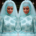 OUMEIYA ONW617 With Hijab And Veil High Neckl Long Sleeve Ball Gown Colorful Muslim Wedding Dress 2016
