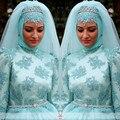 Oumeiya ONW617 con Hijab y velo de la alta Neckl de manga larga vestido de bola de colores vestido de boda musulmán 2016