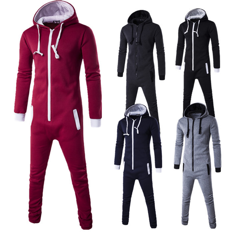 2dbe895fb1e Autumn Men Jumpsuit Long Sleeve Hooded Playsuit Pockets Zip Up Rompers  Casual Tracksuit Men s Sets H9