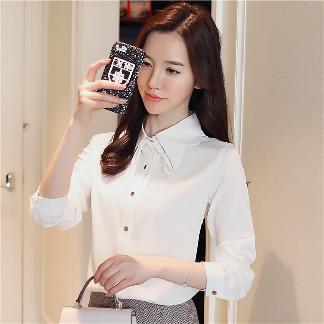 2018 Spring Chiffon Shirt Women Long Sleeve Polo Collar Blouses Top Bow  Ladies Solid Blouse Shirts chemise blusa feminina Top 5ff5f73b705