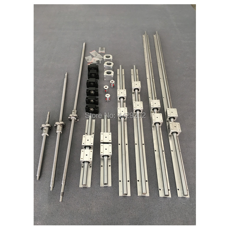 SBR16 linear guide rail 6 set SBR16 - 300/1500/1500mm + ballscrew SFU1605 - 350/1550/1550mm +BK/BF12+Nut housing cnc parts 6sets sbr16 linear guide rail sbr16 300 700 1100mm sfu1605 350 750 1150mm bk bf12 nut housing cnc router