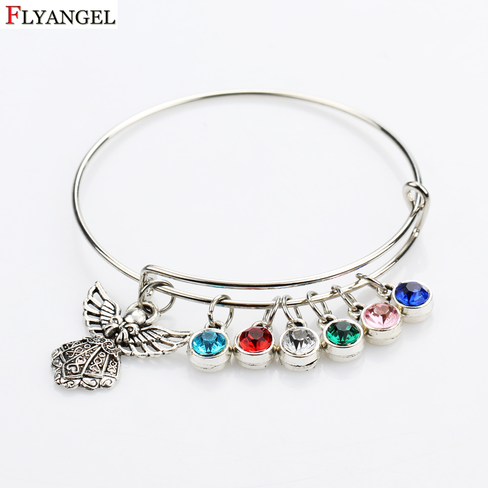 High Quality Adjustable Bracelet For Women Silver Color Blue Green Pink Birthstone Angel Bracelet Jewelry for Girl Gifts