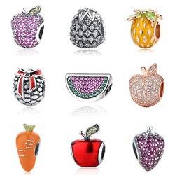 2018 100% 925 Sterling Silver Charms Summer Fruit Apple Paved CZ Bead Charm Fits Original Pandora Women Bracelets DIY Jewelry