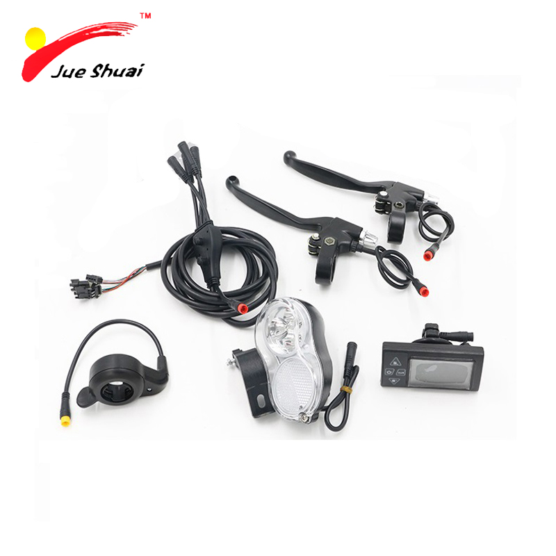 JS 5 Parts Sets 36V 500W Electric Bicycle Conversion Kit LCD Display Front Light Throttle  Brake Lever Waterproof Wire js lcd display for electric bicycle waterproof original connector manual control panel mount on the bike handlebar 36v cycling