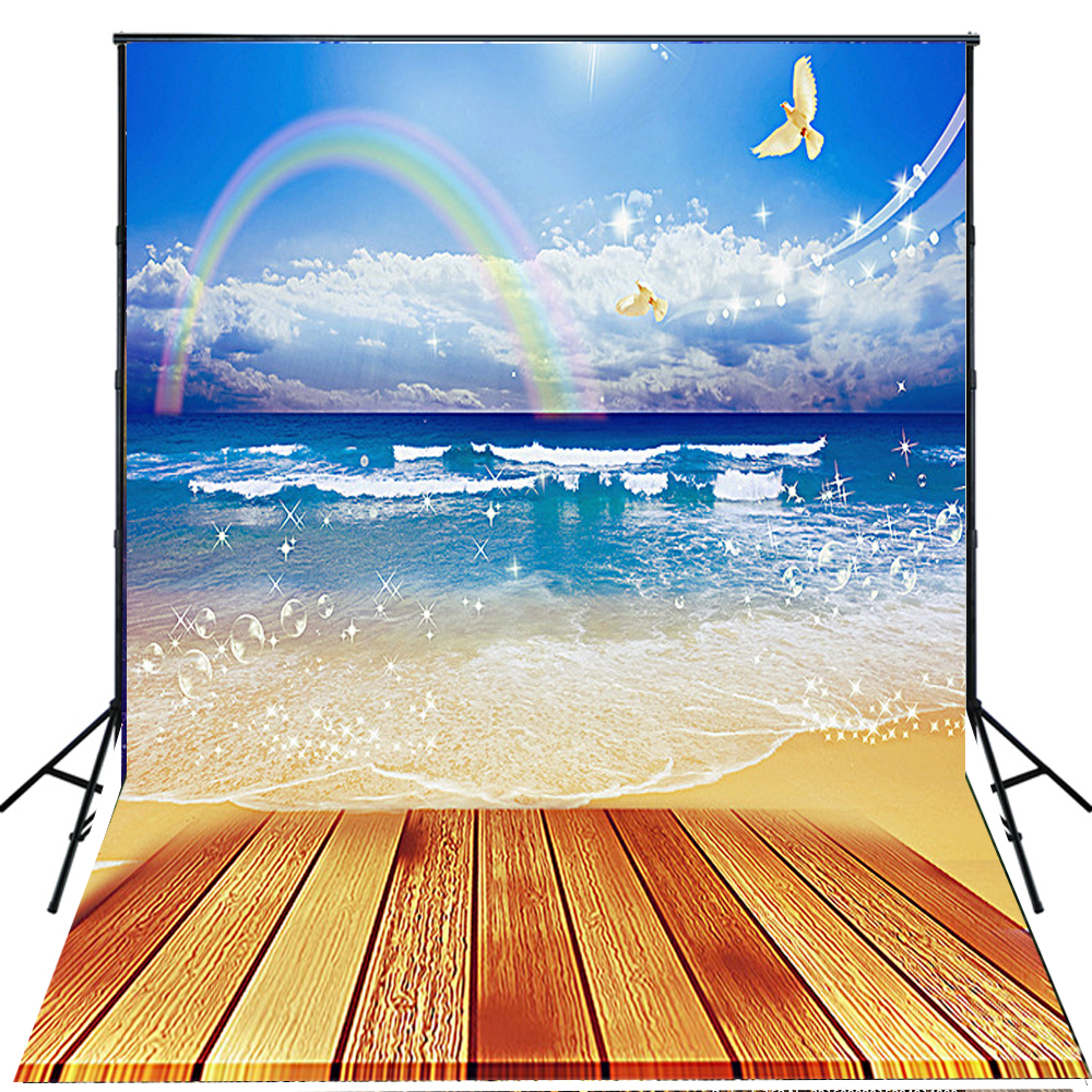 Photography Backdrop Blue Sea with White Cloud Background for Wedding Photocall Yellow Wood Floor Kids Summer Holiday Background