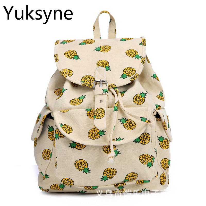 European Style Women Backpack Vintage Canvas Pineapple Printing Large Capacity School Backpack for Laptop and Notebook