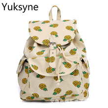 Европейский Стиль женщины рюкзак винтажная парусиновая ананас печати большой Ёмкость школьный рюкзак для ноутбука и ноутбук Mochila