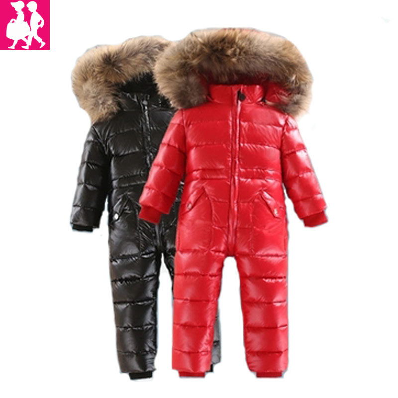 -30 degrees Baby winter clothes Baby snowsuit duck down Rompers windproof girl boy Warm winter rompers