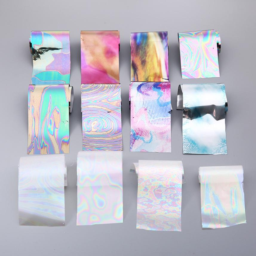 New 12Pcs/set 4*20cm Starry Sky Nail Foils Nail Art Transfer Stickers Decal Fashion Broken Glass DIY Nail Tips Decorations JU18. 2016 new arrival 5cm 100m roll nail aurora stickers broken glass symphony paper nail glassine paper for 3d nail art decorations
