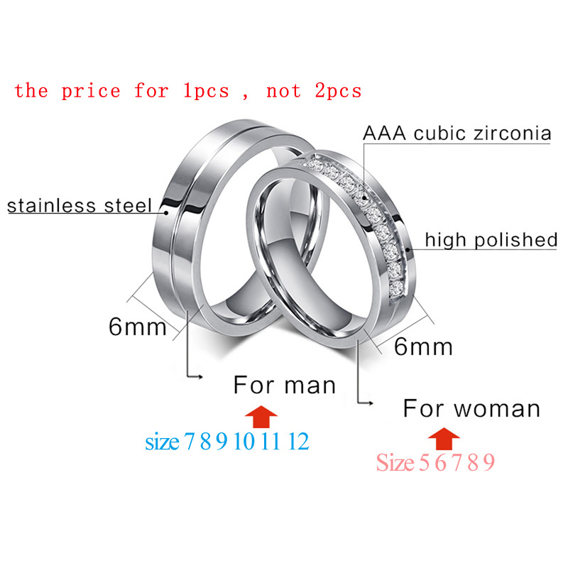 62bc9e0dff Aliexpress.com : Buy Meaeguet Classic Silver Color Lover's Wedding Rings  316L Stainless Steel CZ Ring Jewelry Engagement Wedding Bands from Reliable  wedding ...